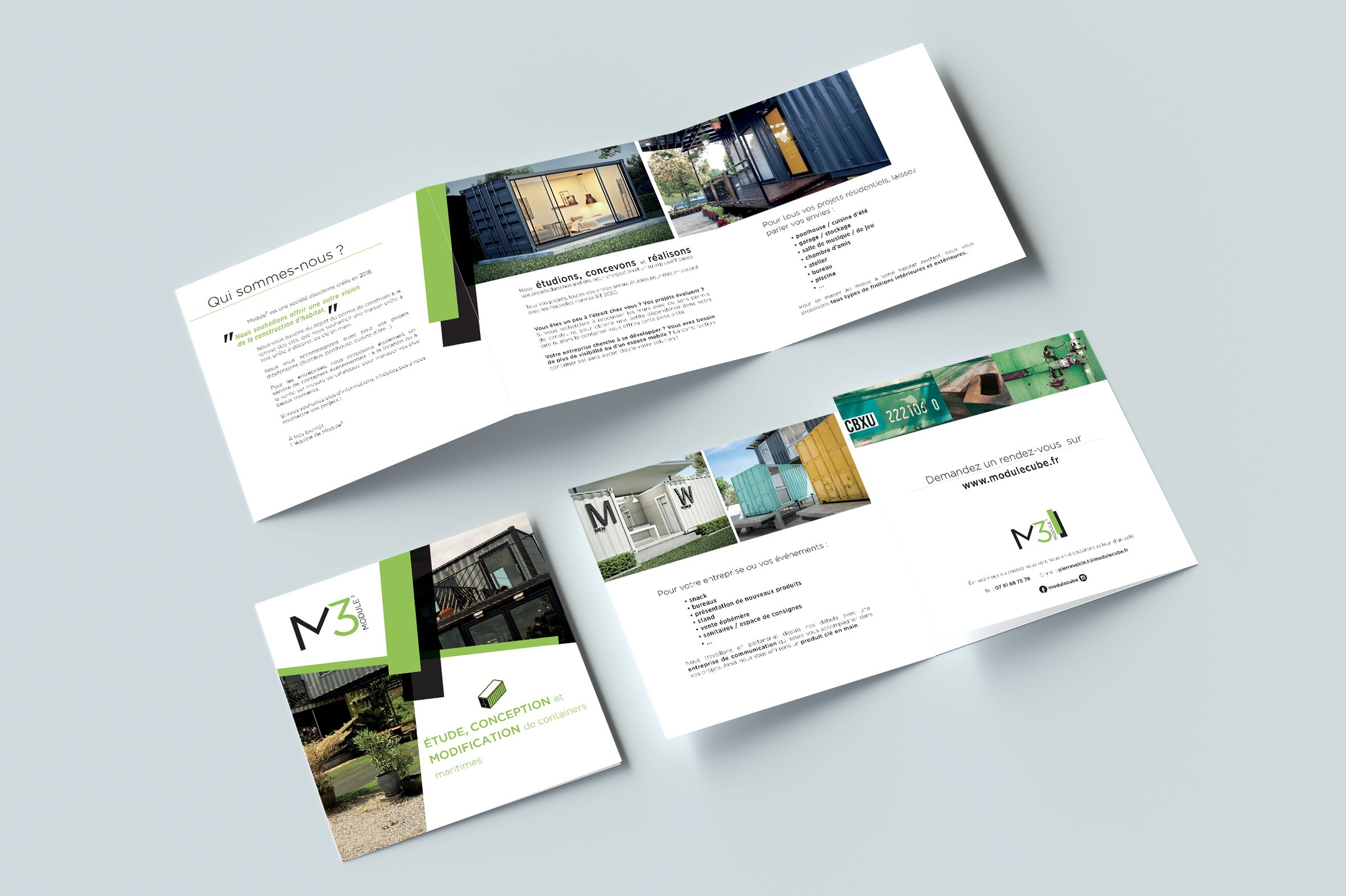 Square Modern Trifold Brochure mockup on gray background. 3d rendering.